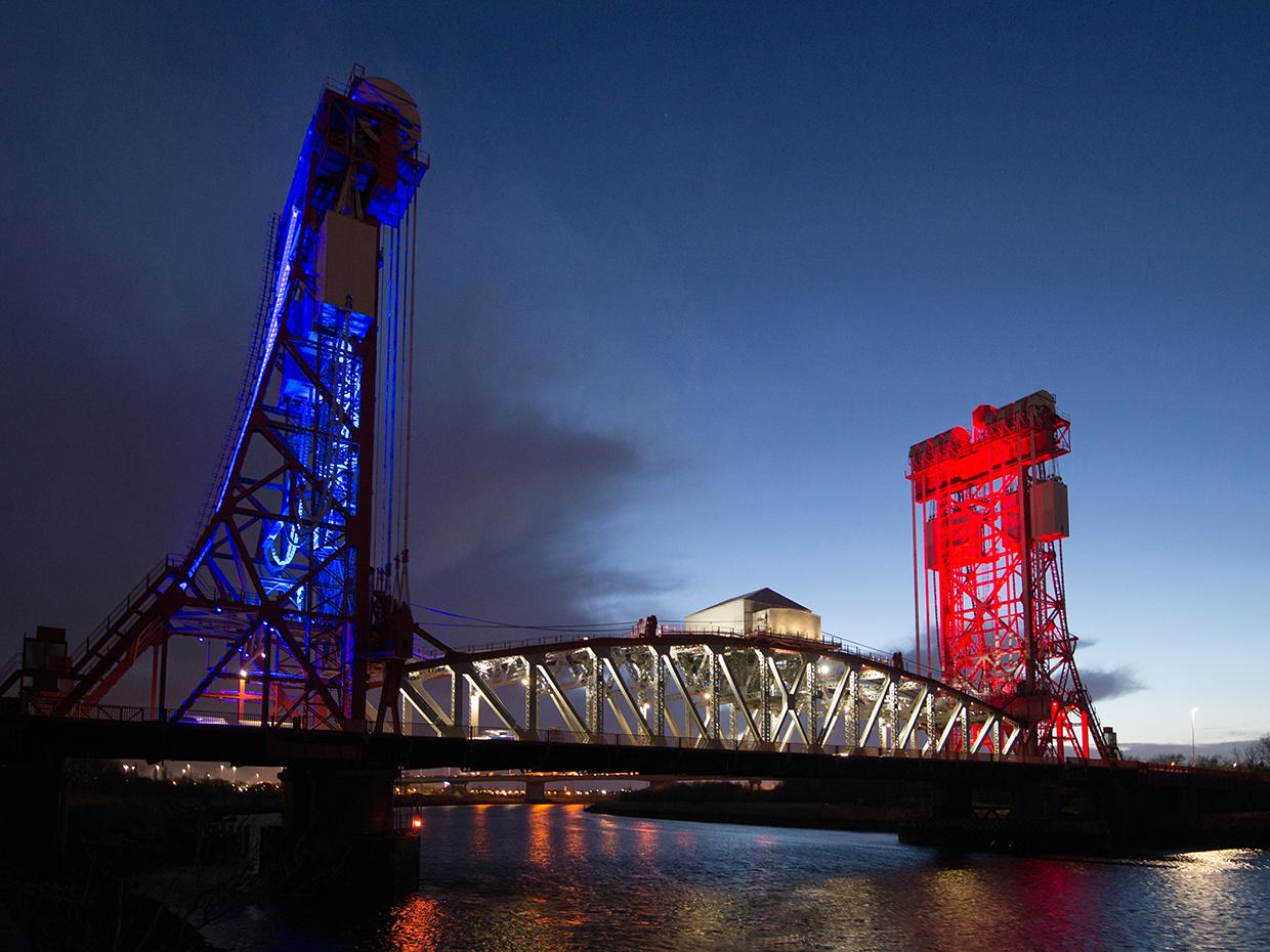 Dynamic lighting has transformed Tees Newport Bridge into regional focal point and pride of residents